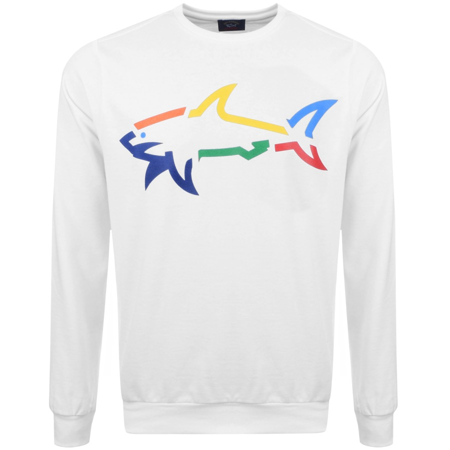 Paul And Shark Crew Neck Logo Sweatshirt White