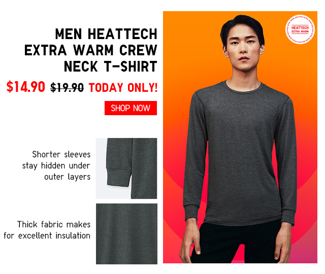 Men HEATTECH Extra Warm Crew Neck T-Shirt $14.90 - TODAY ONLY! Shop Now