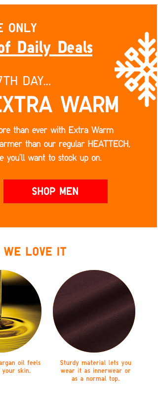 ONLINE ONLY - The 14 Days of Daily Deals - ON THE 7TH DAY...HEATTECH EXTRA WARM - SHOP MEN