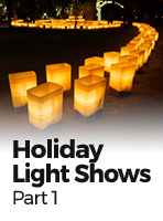 Holiday Light Shows in Eight States: AL, AR, AZ, CA, CO, DE, FL, and GA
