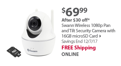 Swann Wireless 1080p Pan and Tilt Security Camera with 16GB microSD Card