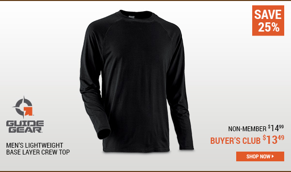 Guide Gear Men's Lightweight Base Layer Crew Top