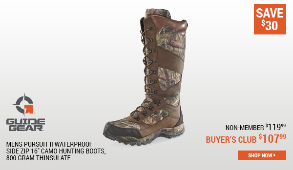 Guide Gear Mens Pursuit II Waterproof Side Zip 16 Inch Camo Hunting Boots, 800 Gram Thinsulate