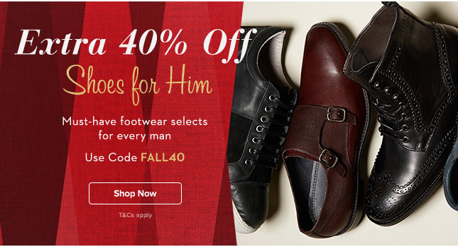 Extra 40% Off Men's Shoes