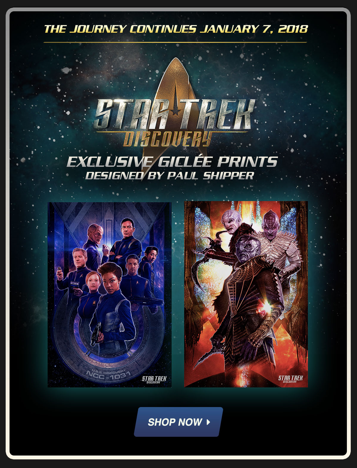 The Journey Continues January 7 2018 Star Trek Discovery Exclusive Posters Designed By Paul