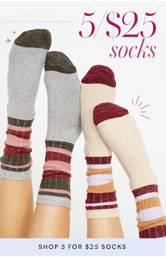 5 for $25 Socks