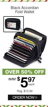 Black Accordian Fold Wallet