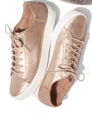 Rose Gold Metallic Leather Women's Lenox Sneakers