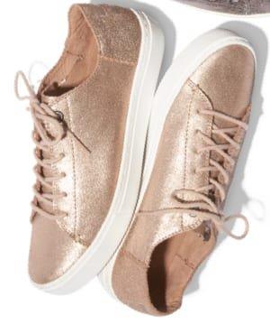 Rose Gold Metallic Leather Women's Lenox Sneakers