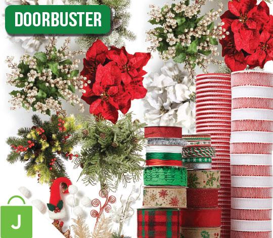ENTIRE STOCK  Holiday Floral, Containers, Ribbon, Bows and Decorative Mesh.