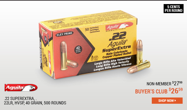 Aguila .22 SuperExtra, .22LR, HVSP, 40 Grain, 500 Rounds