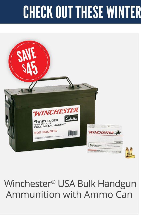 Winchester USA Bulk Handgun Ammunition with Ammo Can