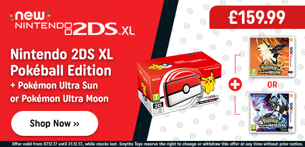 Nintendo 2DS XL Pokeball Edition & Pokemon Ultra Sun or Moon