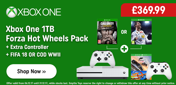 Xbox One 1TB Forza Hot Wheels Pack & Extra Controller & Fifa 18 or COD WW II