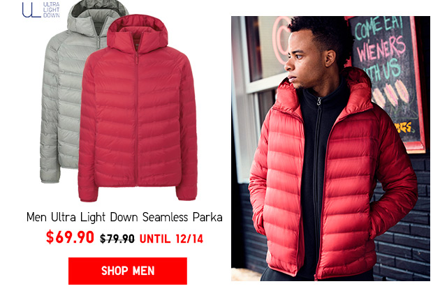 Top things off with weekly promotions -- ULTRA LIGHT DOWN SEAMLESS PARKA