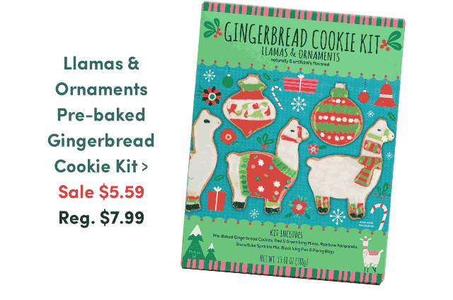 Llamas & Ornaments Pre-baked Gingerbread Cookie Kit