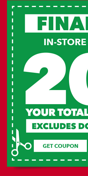 Final Day. In-store and online. 20% off your total purchase. Excludes Doorbusters. GET COUPON.