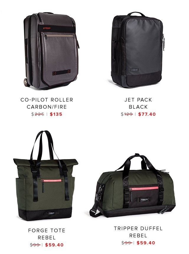 CoPilot Roller | Jet Pack | Forge Tote | Tripper Duffel | Shop Sale