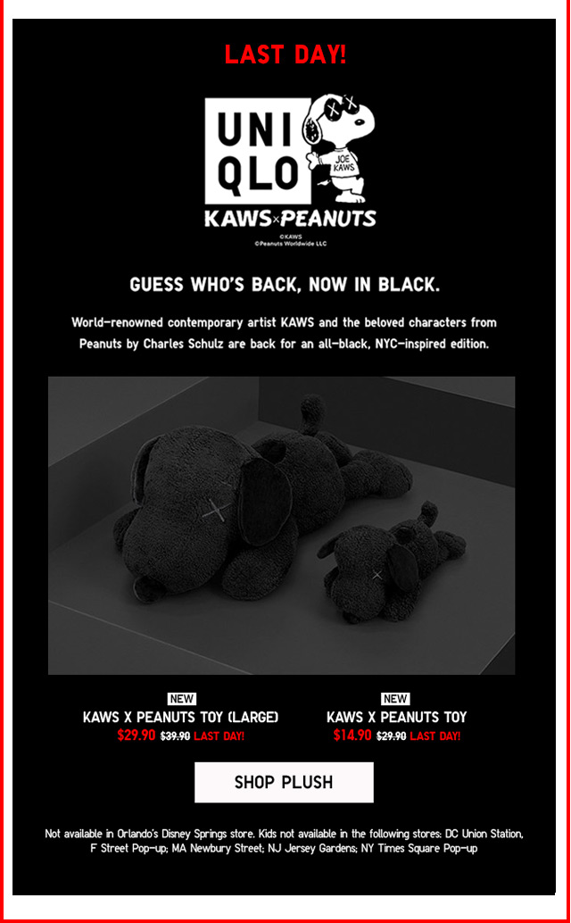 LAST DAY! KAWS x PEANUTS - Kaws x Peanuts Toy (Large) $29.90 | Kaws x Peanuts Toy $14.90 - SHOP PLUSH