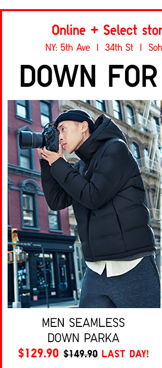 Online + Select Stores - LAST DAY! DOWN FOR SEAMLESS - Men Seamless Down Parka $129.90