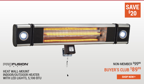 ProFusion Heat Wall-Mount Indoor/Outdoor Heater with LED Lights, 5,100 BTU