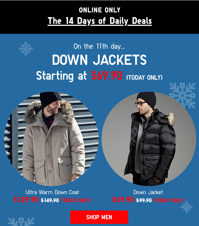 14 Days of Daily Deals: DOWN JACKETS -- Starting at $69.90 - Shop Now