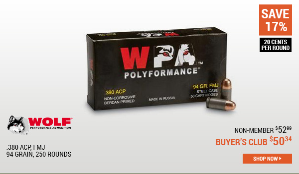 Wolf Polyformance, .380 ACP, FMJ, 94 Grain, 250 Rounds