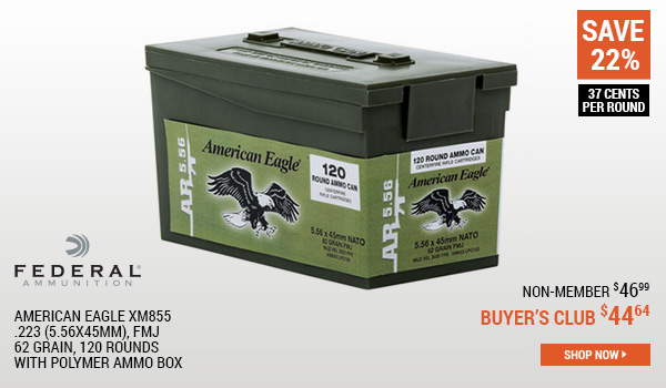 Federal American Eagle XM855, .223 (5.56x45mm), FMJ, 62 Grain, 120 Rounds with Polymer Ammo Box