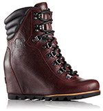 A leather wedge boot with laces.