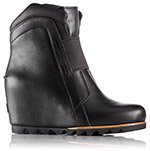 A leather wedge boot.