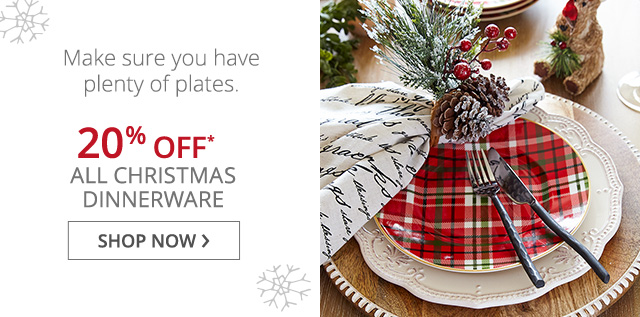 20% off All Christmas Dinnerware, shop now.