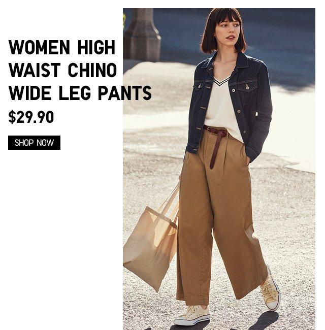 WOMEN HIGH WAIST CHINO WIDE LEG PANTS $29.90 - Shop Now