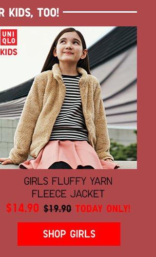 FLEECE FOR KIDS, TOO!  GIRLS FLUFFY YARN FLEECE JACKET $14.90 - TODAY ONLY! SHOP GIRLS