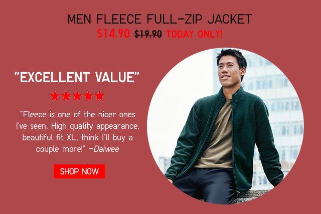 MEN FLEECE FULL-ZIP JACKET $14.90 - TODAY ONLY! SHOP NOW