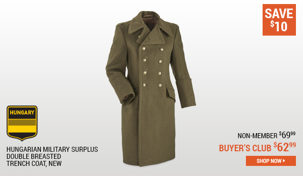 Hungarian Military Surplus Double Breasted Trench Coat, New