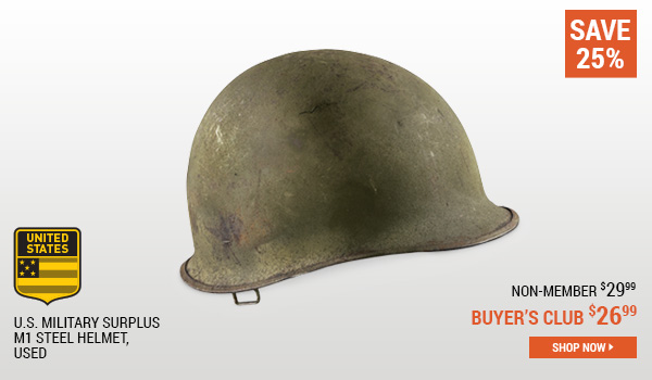 U.S. Military Surplus M1 Steel Helmet, Used