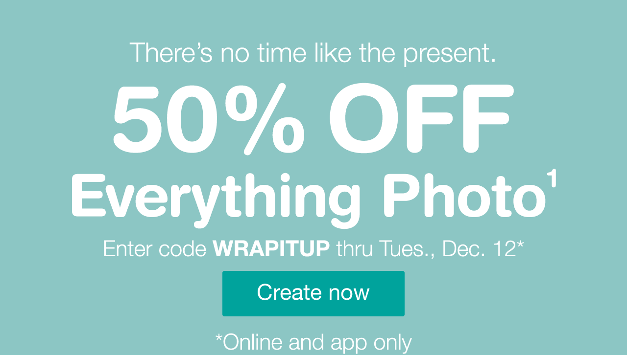 theres no time like the present 50 off everything photo enter code wrapitup thru - Walgreens Christmas Day