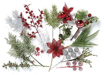 Entire Stock Holiday Floral Picks.