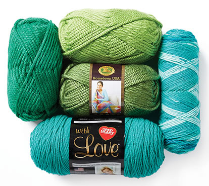 Lion Brand Hometown USA and Red Heart With Love Yarn.