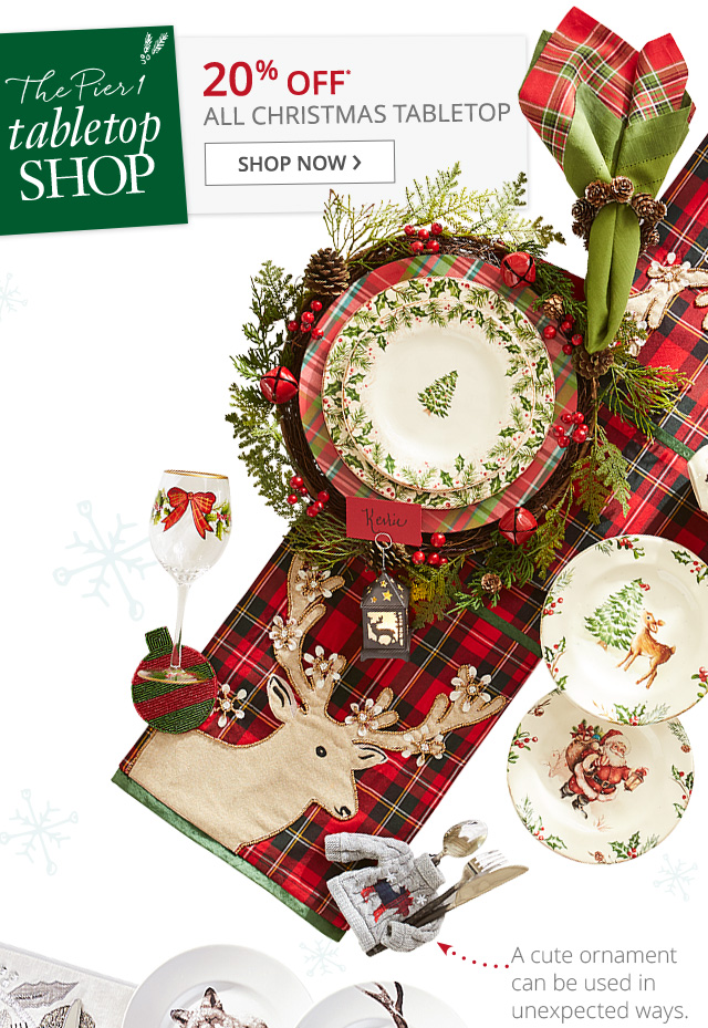 20% off* all Christmas Tabletop