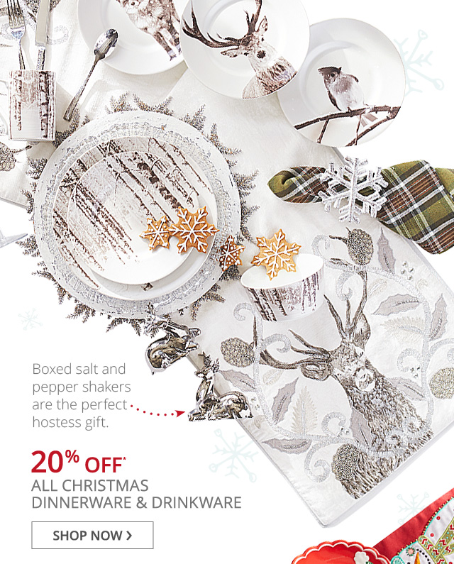 20% off* all Christmas Dinnerware and Drinkware