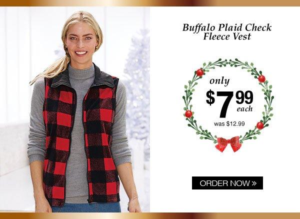 Buffalo Plaid Check Fleece Vest