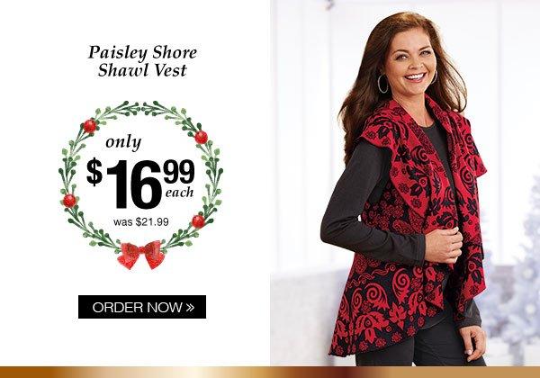 Paisley Shore Shawl Vest