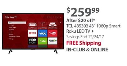 TCL 43S303 43' 1080p Smart Roku LED TV