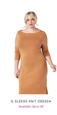 SLEEVE KNIT DRESS AVAILABLE UP TO 3X
