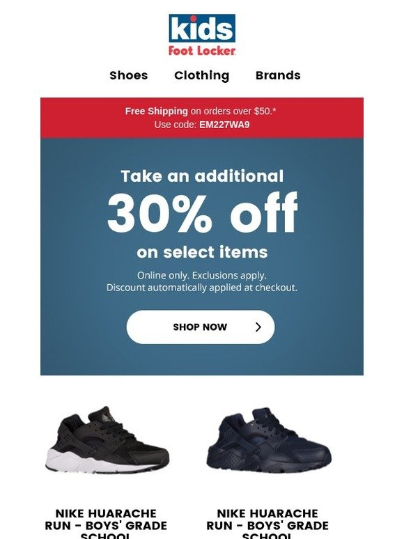 f3d591edbeb9a4 Kids Foot Locker  Save an additional 30% on select clearance! 😳