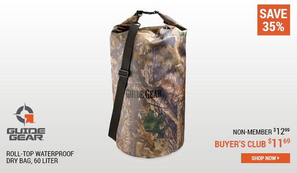 Guide Gear Roll-Top Waterproof Dry Bag, 60 Liter