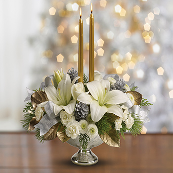 Telefloras Silver And Gold Centerpiece
