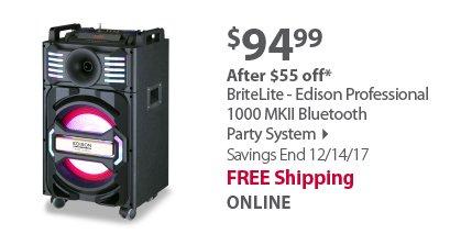 BriteLite - Edison Professional 1000 MKII Bluetooth Party System