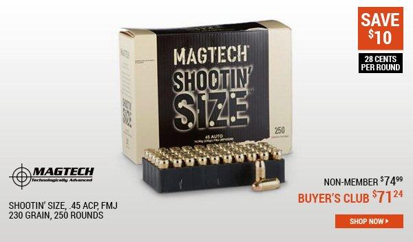 Magtech Shootin' Size, .45 ACP, FMJ, 230 Grain, 250 Rounds